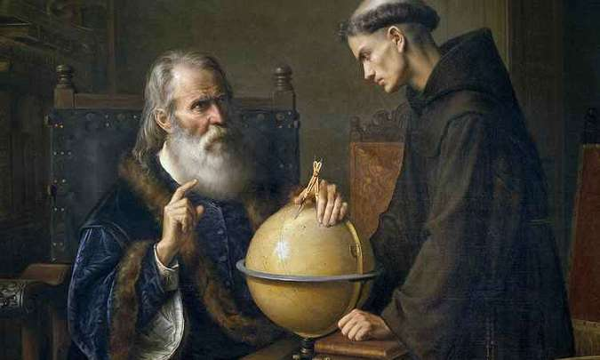 Galileu Galilei demonstrando as novas teorias astronômicas na Universidade de Pádua.(foto: Félix Parra - 1845)