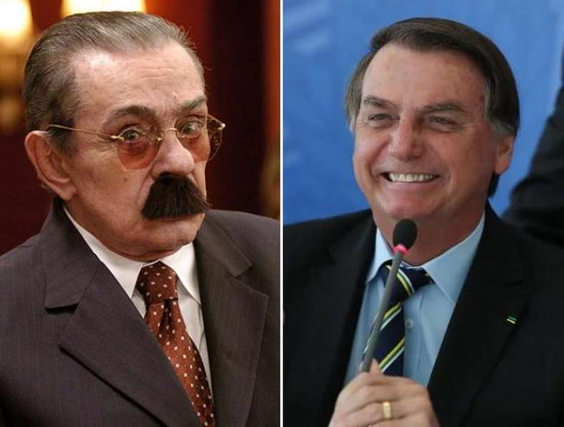 Justo Veríssimo, personagem de humor de Chico Anysio, e Jair Bolsonaro em fotomontagem