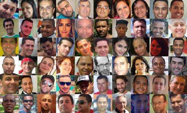 Veja a lista completa com as vítimas já identificadas pela Polícia Civil de Minas Gerais(foto: Fotos extraídas de redes sociais/reprodução)