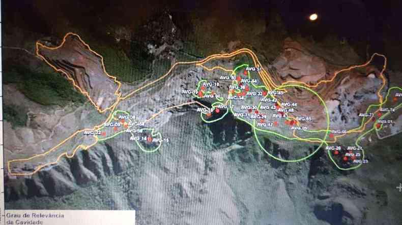 Distribuição de cavernas pouco exploradas e que podem estar em perigo na Serra da Piedade(foto: Divulgação)