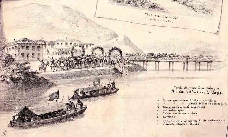Imperador viajou pelo Rio das Velhas na barcaça Cônego Santana (foto: Reprodução)