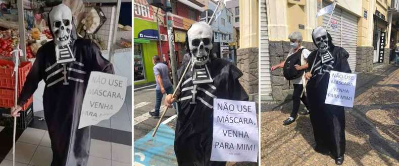 Moradores fizeram registros do fantasiado pelas ruas da cidade(foto: Redes sociais/Reprodução )