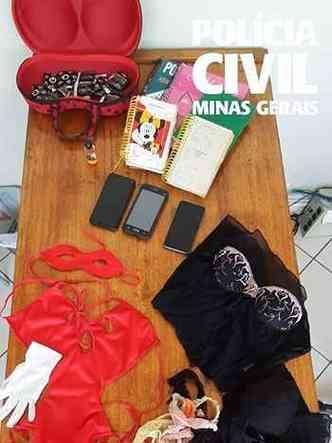 Materiais apreendidos na casa da vítima(foto: Polícia Civil/Divulgação)