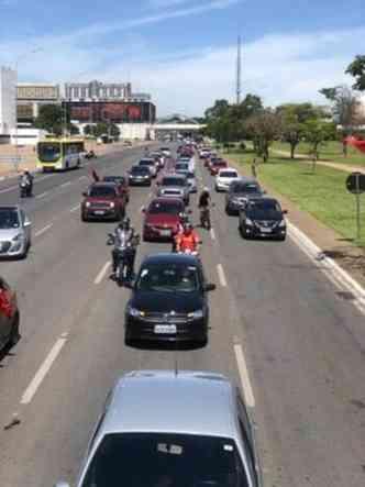 Início da carreata em Brasília(foto: Twitter/Reprodução)